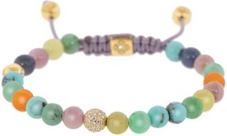 Shamballa Yellow Gold Diamond and Gemstone Bead Bracelet
