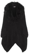 Fendi Shearling-trimmed Wool-blend Cardigan - Black