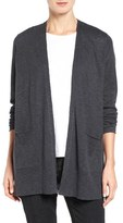 Eileen Fisher Organic Linen & Cotton Open Front Cardigan