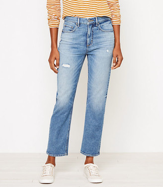 LOFT High Rise Straight Crop Jeans in Authentic Mid Indigo Wash