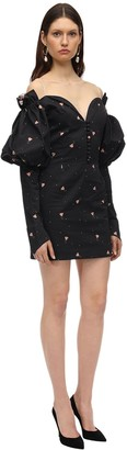MARIANNA SENCHINA Printed Poplin Mini Dress W/Puff Sleeves