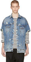 R 13 Blue Denim Oversized Cut Off Trucker Jacket