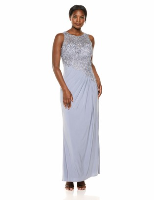 Cachet Women's Sleeveless Beaded lace Cascade one Piece Dress