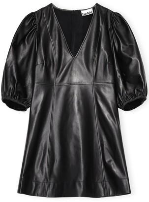 Ganni Lamb Leather Dress in Black