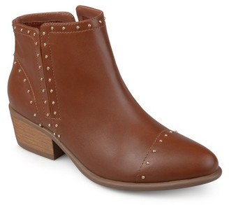 Brinley Co. Women's Faux Leather Stacked Heel Studded Ankle Boots