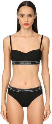 Dolce & Gabbana Logo Band Cotton Jersey Balconette Bra