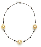 Black Diamond Golden South Sea Baroque Pearl & 7.37 Total Ct. Station Necklace