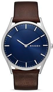 Skagen Slim Holst Leather Strap Watch, 40mm