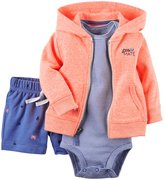 Carter's 3 Piece Cardigan Set (Baby) - Neon Orange-18 Months