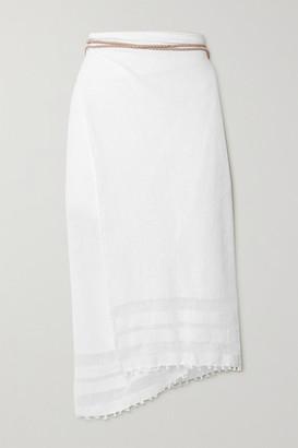 CARAVANA + Net Sustain Suede-trimmed Cotton-gauze Pareo - White
