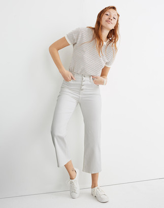 Madewell Slim Wide-Leg Crop Jeans in Pure White: Button-Front Edition
