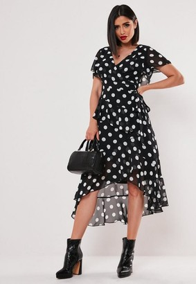 Missguided Black Polka Dot Ruffle Wrap Midi Dress