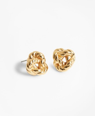 Brooks Brothers Gold-Plated Rope Knot Earrings