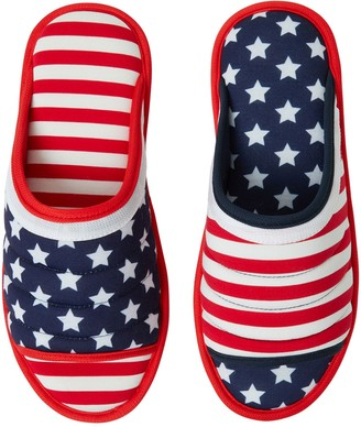 Dearfoams Unisex Stars and Stripes Slide Slippers
