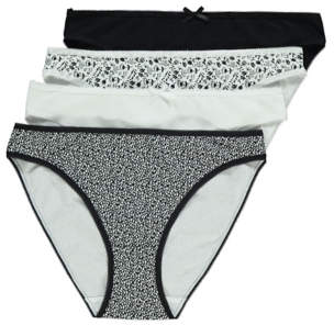George Black and White Patterned High Leg Briefs 4 Pack
