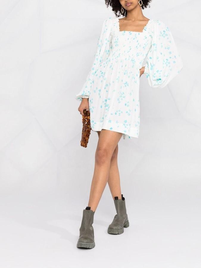 Ganni Floral Print Crepe Mini Dress