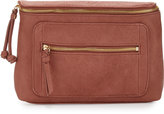 Neiman Marcus Knotted Zip-Top Clutch Bag, Mauve Pink