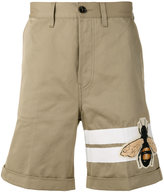Gucci bee patch flared shorts - men - Cotton - 33