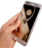 iPhone 6 Plus Case,Inspirationc® Beauty Luxury Diamond Hybrid Glitter Bling Soft Shiny Sparkling with Glass Mirror Back Plate Cover Case for Apple iPhone 6 Plus (5.5 inch)--Black