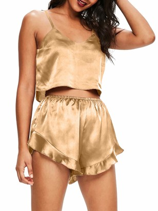 Cutemini Women Sleepwear Satin Pajamas Set V-Neck Crop Top Camisole and Ruffle Shorts Sleepwear Set (Gold S)
