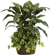Asstd National Brand Nearly Natural 4-ft. Double Bird of Paradise & Pothos Silk Plant with Vase