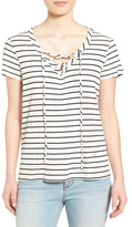 Gibson Lace-Up V-Neck Stripe Shirt