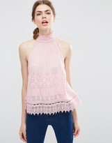 Asos Sleeveless High Neck Top with Embroidery