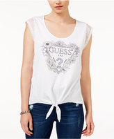 GUESS Lace-Trim Tie-Front Logo T-Shirt