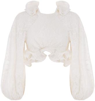Zimmermann The Lovestruck Cotton-Linen Lace Bodice Top