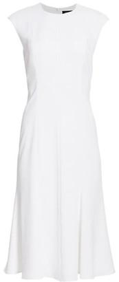 St. John Fit-&-Flare Cap-Sleeve Dress