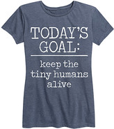 Instant Message Women's Women's Tee Shirts HEATHER - Heather Blue 'Keep The Tiny Humans Alive' Relaxed-Fit Tee - Women