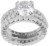 Journee Collection 7 CT. T.W. Round-cut CZ Basket Set Wedding Ring Set in Sterling Silver