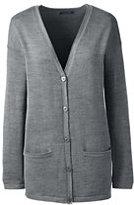 Lands' End Women's Merino V-neck Cardigan Sweater-Vicuna Heather