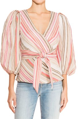 Parker Zenda Striped Wrap Blouse