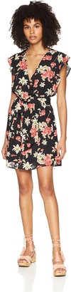 Jack by BB Dakota Junior's Shakira Rose Floral Printed Ruffle Sleeve Dress