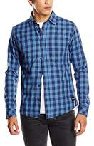 ONLY & SONS Men's ONSVOLTA NOOS Checkered Long Sleeve Casual Shirt, Dress Blues