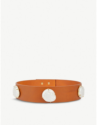 BLACK AND BROWN Paulina embellished leather belt