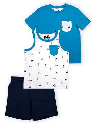Aeropostale p.s. from Boys' Casual Shorts BLUE - Blue & White Palm Tree Crewneck Tee Set - Boys