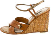 Louis Vuitton Leather Bamboo Wedges