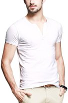 Neonysweets Mens Cotton T-shirts V Neck Short Sleeve Base Tee L