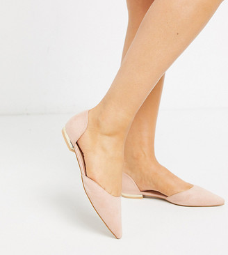 Raid Wide Fit Amy two part flat shoes in blush