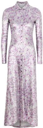 Paco Rabanne Floral-print metallic-weave shirt dress