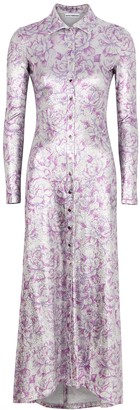 Paco Rabanne Floral-print Metallic-weave Shirt Dress