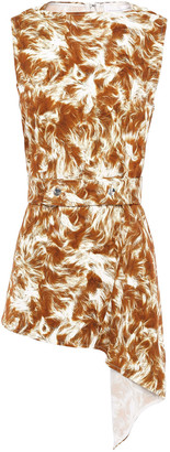 Victoria Beckham Asymmetric Belted Printed Stretch-cady Top