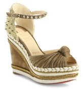 Christian Louboutin Madcarina 120 Knotted Suede Espadrille Wedge Platform Sandals