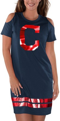 G Iii Women's G-III 4Her by Carl Banks Navy Cleveland Indians Final's Tri-Blend Dress