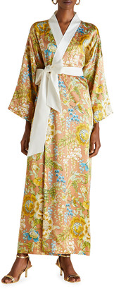 Olivia von Halle Queenie Floral Print Long Kimono Robe