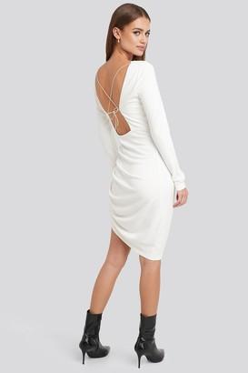 NA-KD Long Sleeve Open Back Jersey Dress