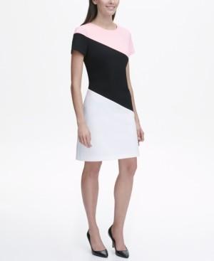 Tommy Hilfiger Scuba Crepe Diagonal Colorblock Shift Dress