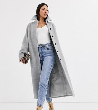 Asos DESIGN Tall collared button through coat in grey